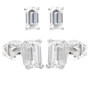 Silver Emerald Cut Royal Stud Earrings - 1.00 total carat weight cz in sterling silver