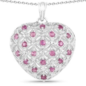 PARIKHS 1.00 Carat Genuine Ruby Pendant with chain in 18K White Gold over Sterling Silver