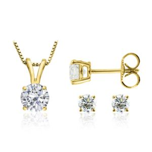 Certified PARIKHS Round Premium Diamond Set 14K Yellow Gold 0.85ct IJ Color, SI2 Clarity