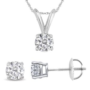 Certified PARIKHS Round Diamond Screw Back Set 18K White Gold 0.20ct HIJ Color, VS2 Clarity