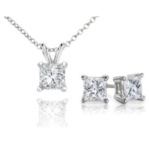 Certified PARIKHS Princess Cut Popular Diamond Set 14K White Gold 1.00ct IJK Color, I2 Clarity