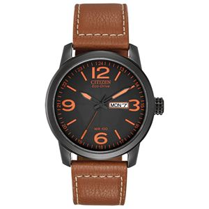 Citizen Men's Military Style Eco-Drive Watch, Leather Strap with Black Case and Orange Accents