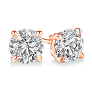 Certified PARIKHS Round Popular Diamond  Stud 14K Rose Gold 0.60ct IJK Color,I2 Clarity