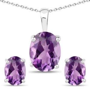 PARIKHS 18K White Gold over Silver 3.20 Carat African Amethyst Oval Pendant-Earring Set