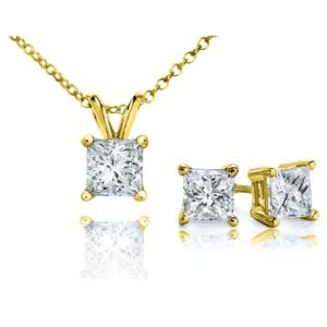PARIKHS Princess Cut Promo Diamond Set 925 Sterling Silver Yellow Gold 0.20ct IJK Color, I3 Clarity