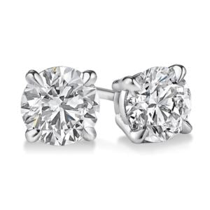 Certified PARIKHS Round Privilege Diamond  Stud 18K White Gold 0.45ct HIJ Color,VS2 Clarity