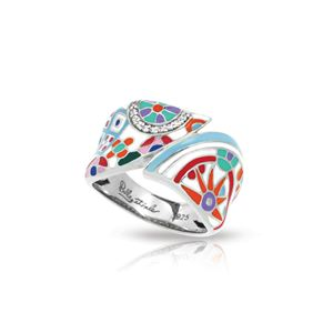 Belle Etoile Pashmina - Sterling Silver, Multicolor Enamel, White CZ Ring Size #6