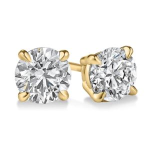 Certified PARIKHS Round Popular Diamond  Stud 18K Yellow Gold 0.80ct IJK Color,I2 Clarity