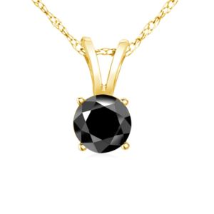 PARIKHS Black Round Diamond Pendant in Yellow Gold over Sterling Silver, 0.30ct
