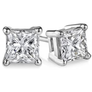 Certified PARIKHS Princess Cut Promo Diamond  Stud 14K White Gold 0.45ct IJK Color,I3 Clarity