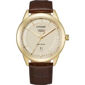 Citizen Men's Corso Eco-Drive Watch, Brown Leather Strap with Champagne Dial