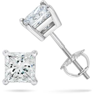 Certified PARIKHS Princess Cut  Diamond Screw Back Stud 18K White Gold 0.80ct IJ Color,SI1 Clarity