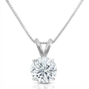 PARIKHS Round Promo Diamond Pendant 10K White Gold 0.07ct IJK Color, I3 Clarity
