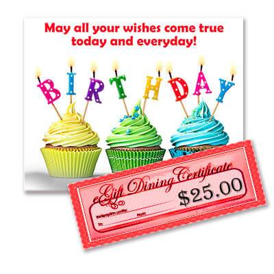 Birthday Wishes - $25 Restaurant.com eGift Certificate