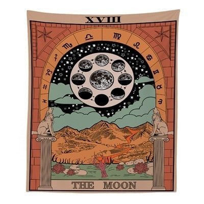 Tarot Divine Mandala Tapestry Hippie Boho Decor Psychedelic Tapestry Macrame Wall Hanging Witchcraft Wall Cloth Tapestries Throw-Moon-150x100cm- - 4EVAH Young