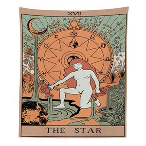Tarot Divine Mandala Tapestry Hippie Boho Decor Psychedelic Tapestry Macrame Wall Hanging Witchcraft Wall Cloth Tapestries Throw-Star-150x100cm- - 4EVAH Young