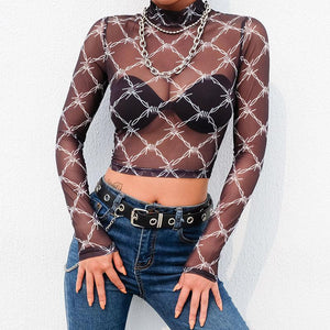 Mesh Tee Shirt Femme Sexy Long Sleeve Crop Top Chain Print T Shirt Women Streetwear Vintage Fishnet top T-shirt 2019 New Arrival-4Evah Young
