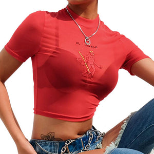 Fashion Summer Sexy Mesh Transparent T Shirt 2019 Hot Women Embroidery Short Sleeve Crop Top Tees Red Camiseta-S- - 4EVAH Young