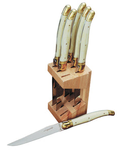 6 Steak Knives in Block - Ivory