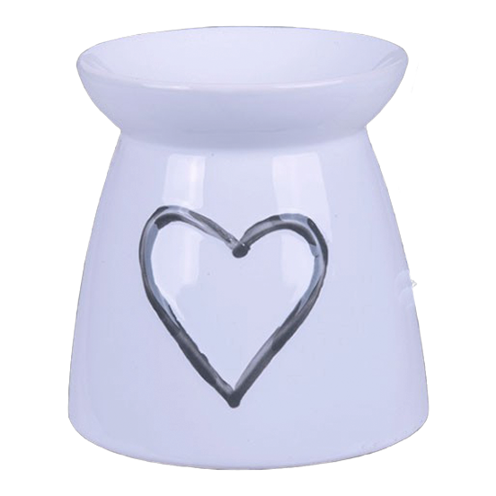 White Ceramic - Painted Heart Burner