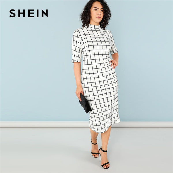 SHEIN Elegant Plaid Bodycon Plus Size Long Pencil Dresses Womens