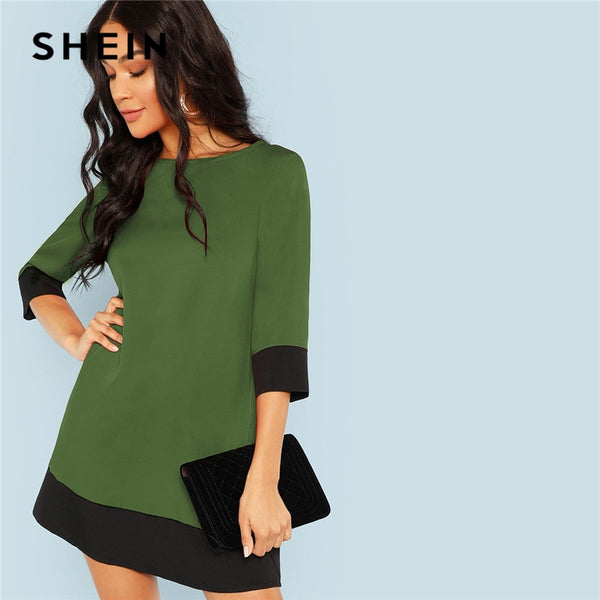 SHEIN Green Going Out Contrast Trim Tunic Three Quarter Length Sleeve
