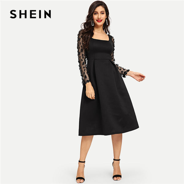 SHEIN Going Out 3D Applique Boxed Pleated Solid Square Neck