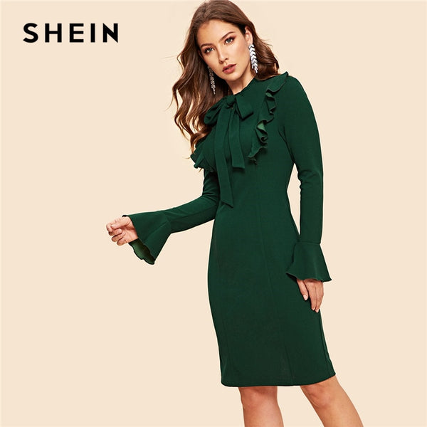 SHEIN Green Tie Neck Ruffle Trim Bell Sleeve Flounce Sleeve Stand Collar Dress