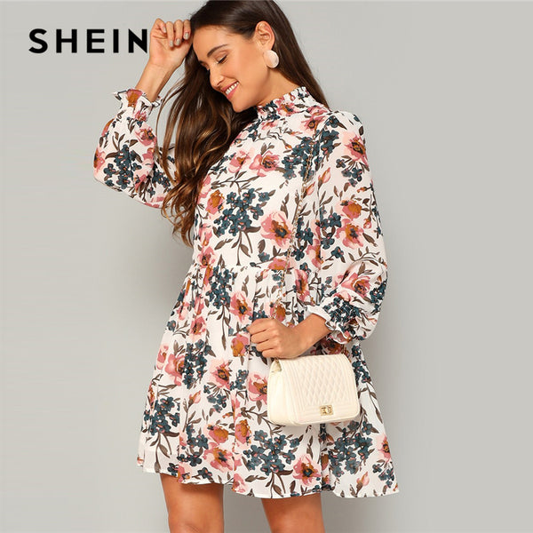 SHEIN Bohemian Multicolor Frilled Neck and Cuff Floral Print Smock Flared Dress Women
