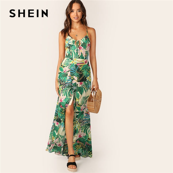 SHEIN Boho Multicolor Lace Up Backless Knot Front Split Tropical Summer Cami