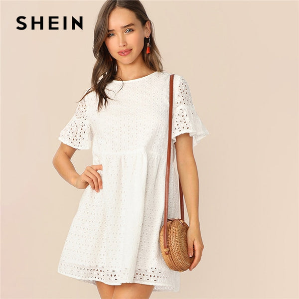 SHEIN Boho White Flounce Short Sleeve Solid Schiffy Straight Summer