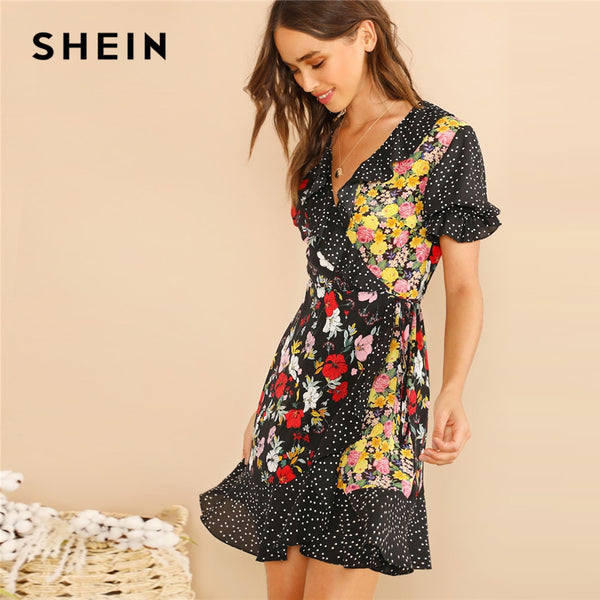 SHEIN Multicolor Ruffle Trim Polka Dot And Floral Wrap Dress Women Elegant