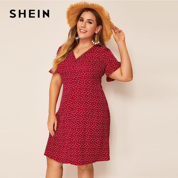 SHEIN Plus Size Burgundy Heart Print Ruffle Cuff Button Up Dress Women Summer Boho Straight Shift Tunic Flounce Sleeve Dresses
