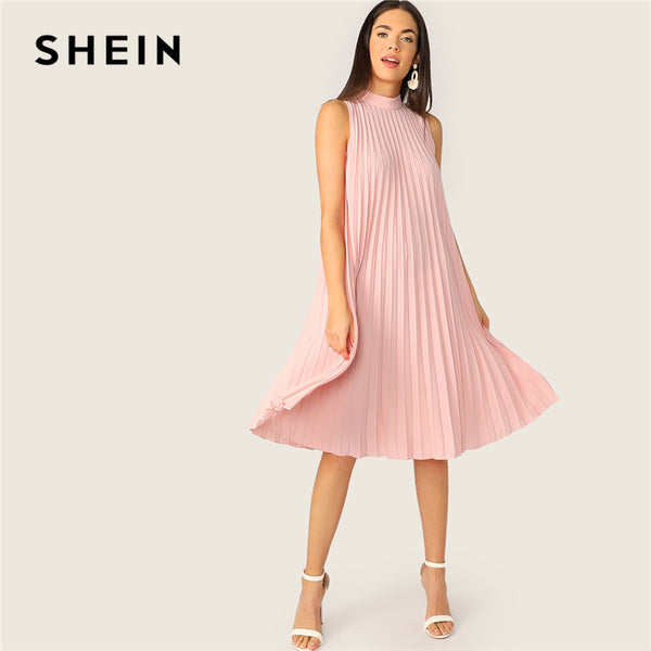SHEIN Pink Mock Neck Cut-out Tie Back Pleated Tunic Party Midi Summer Dress Women Sleeveless Shift Straight Solid Cute Dresses
