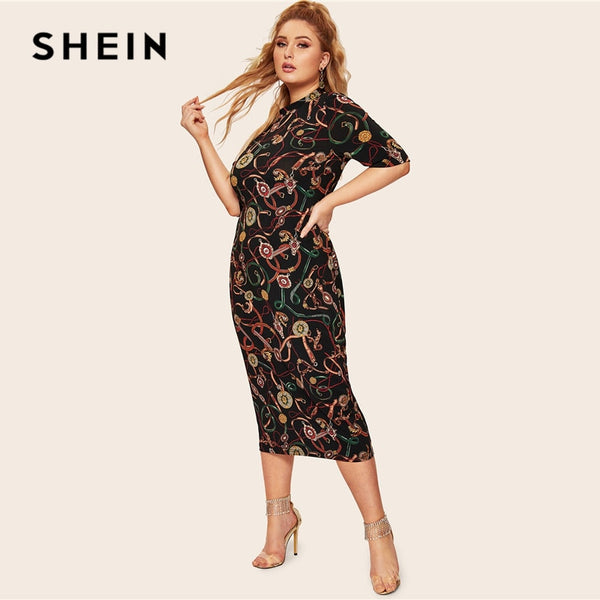 ea695dc9169347 SHEIN Plus Size Multicolor Mock Neck Chain Print Pencil Dress 2019 Spring  Classy Elegant Stand Collar