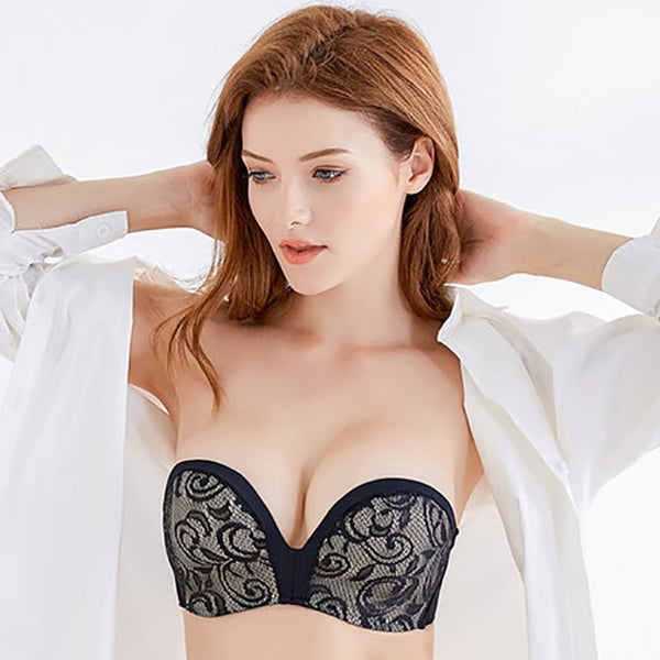 Sexy Lace Invisible Bras For Women Strapless Bra Push Up Backless Lingerie 1/2Cup Bralette Seamless Brassiere Female Underwear#D