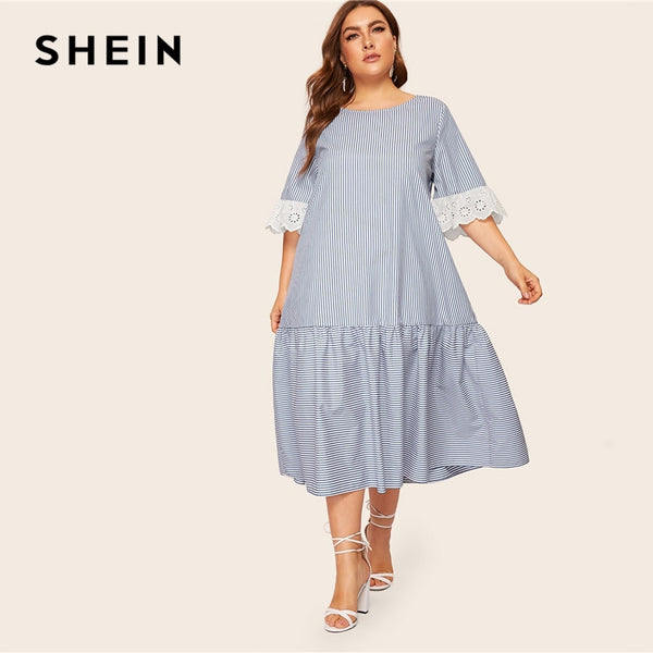 SHEIN Plus Size Blue Contrast Embroidered Eyelet Cuff Striped Boho Long Dress Women 2019 Loose Flounce Hem Summer A Line Dresses