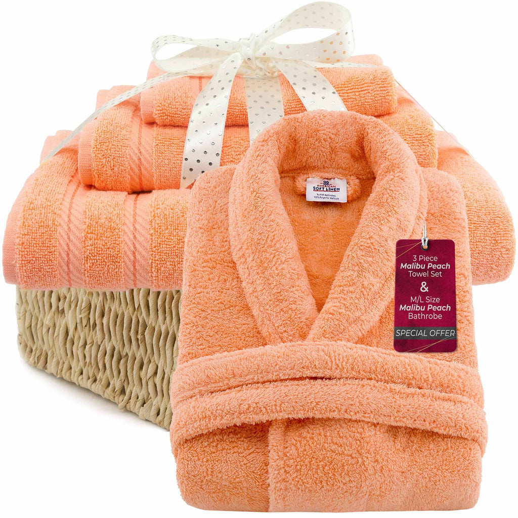 3 Piece Malibu Peach Turkish Towel Set & M/L Malibu Peach Bathrobe - American Soft Linen
