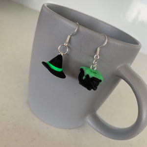 Witch Hat and Cauldron Earrings