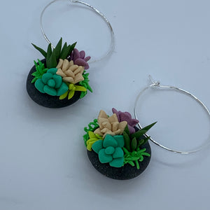 Succulent bowl earrings
