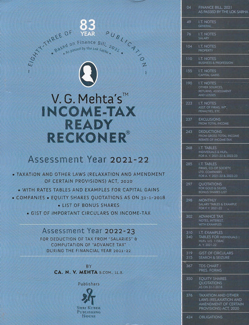 V. G. Mehta's Income Tax Ready Reckoner - AY 2021-2022