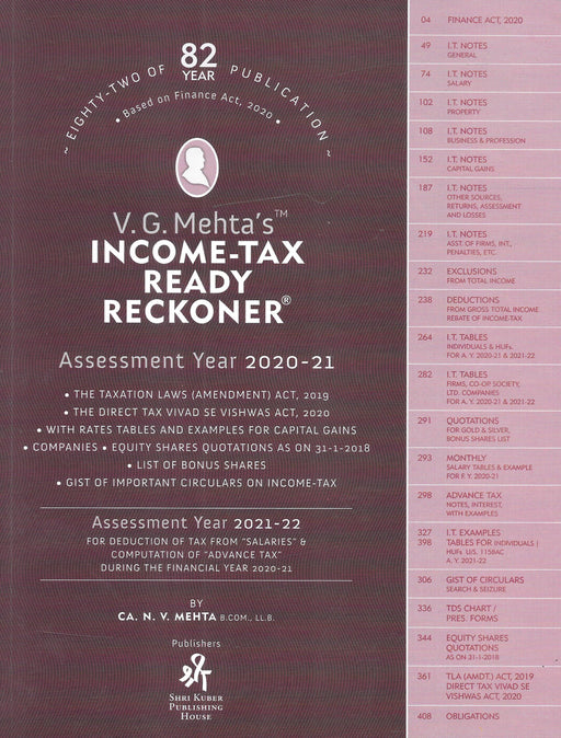 V G Mehta's - Income Tax Ready Reckoner - AY 2020-21