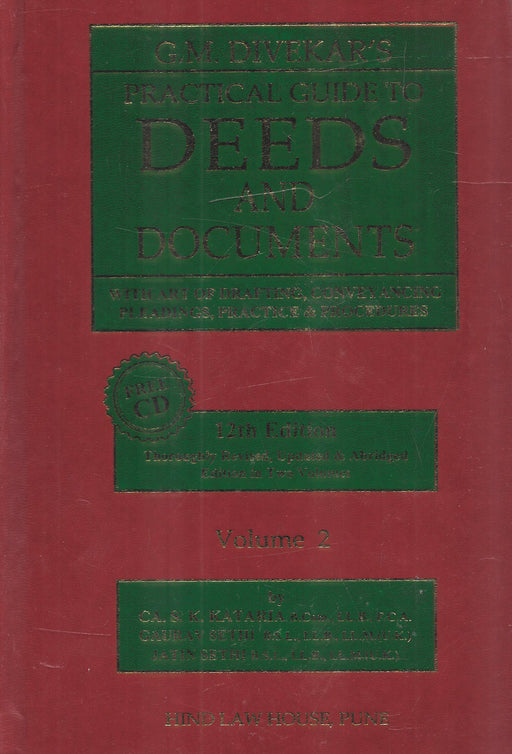 G.M. Divekar's Practical Guide to Deeds & Documents in 2 vols with Free CD-ROM containing Daft formats