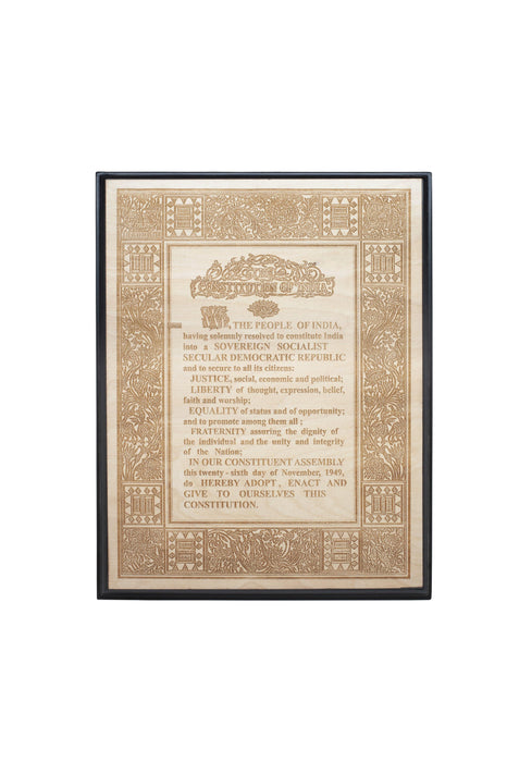Preamble to the Constitution of India - Wooden plaque - 29.7 x 42.0cms