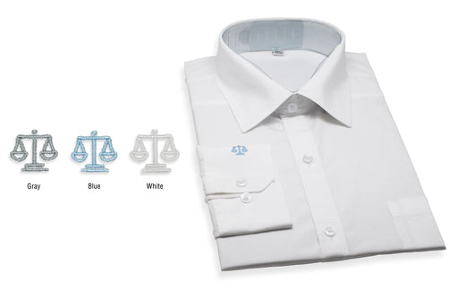 White Shirts for Lawyers with Grey Scale of Justice