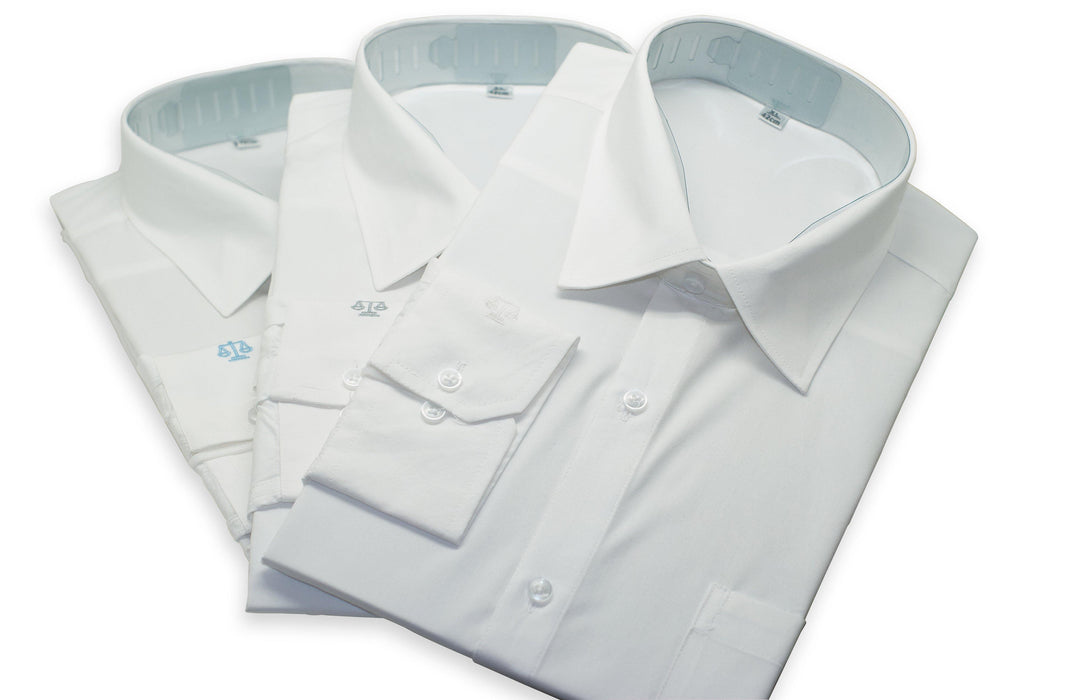 White Shirts for Lawyers with Blue Scale of Justice