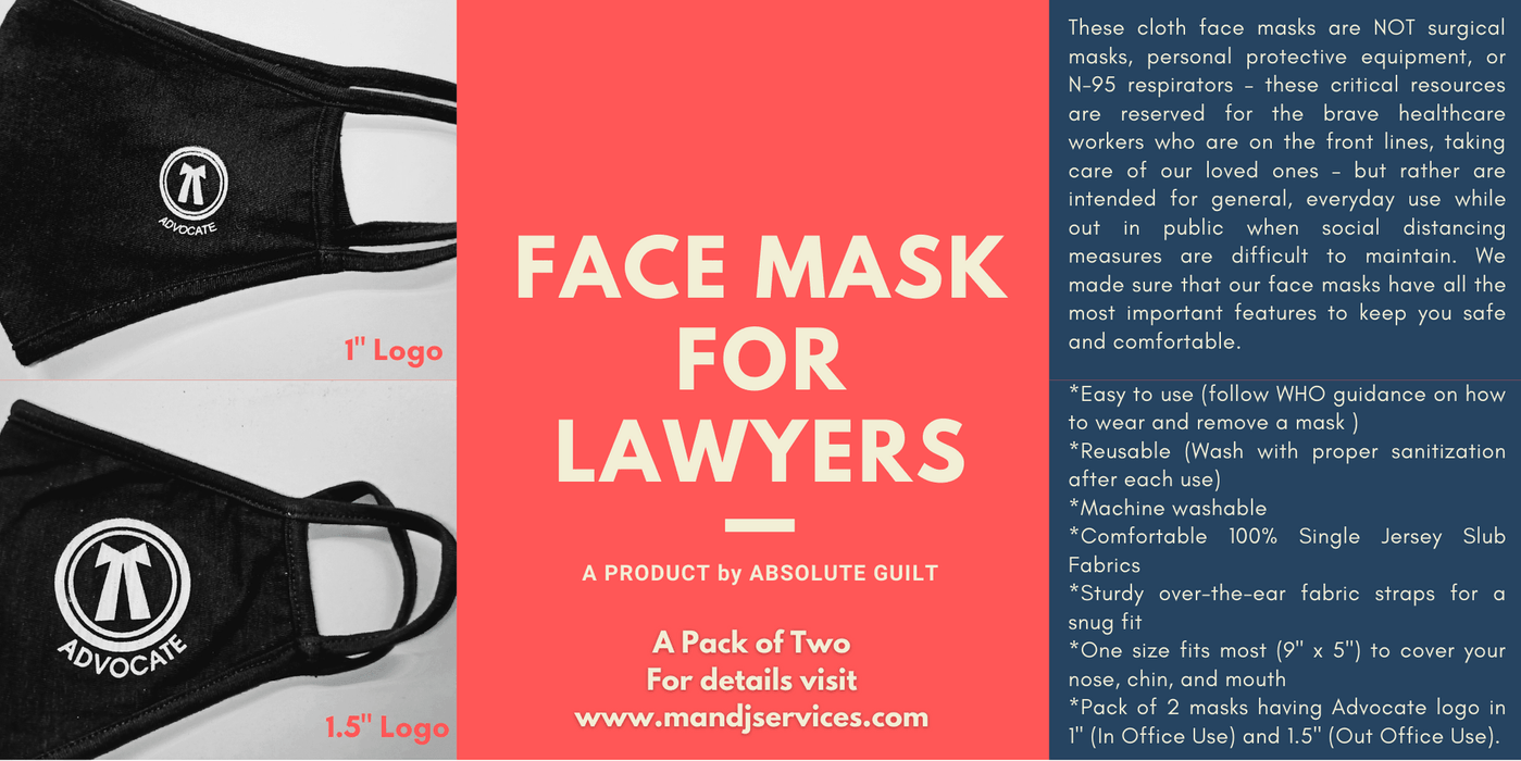 "Face Mask for Lawyers - Pack of Two masks (1"" Logo & 1.5"" Logo)"