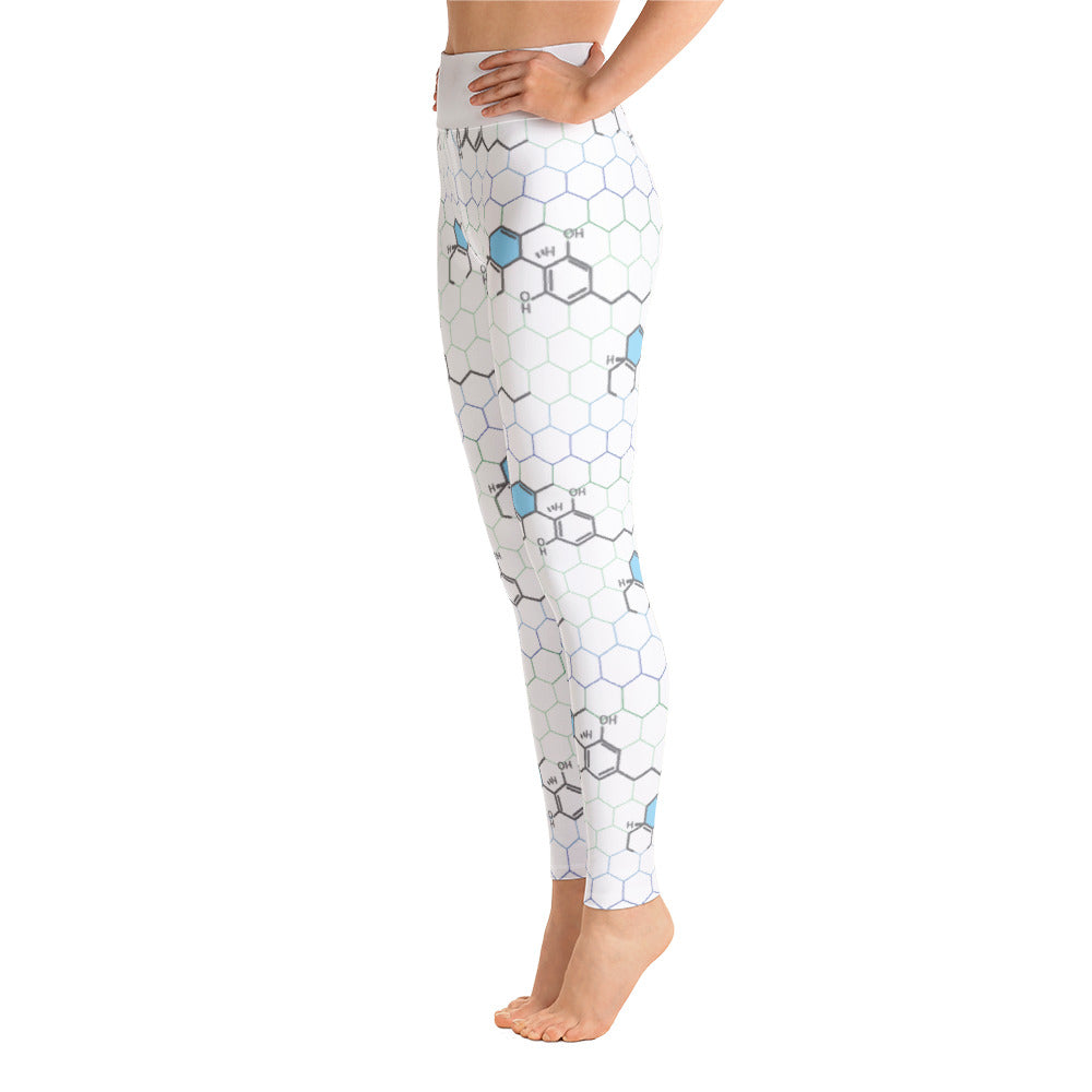 CBD Molecule Yoga Pants (White)