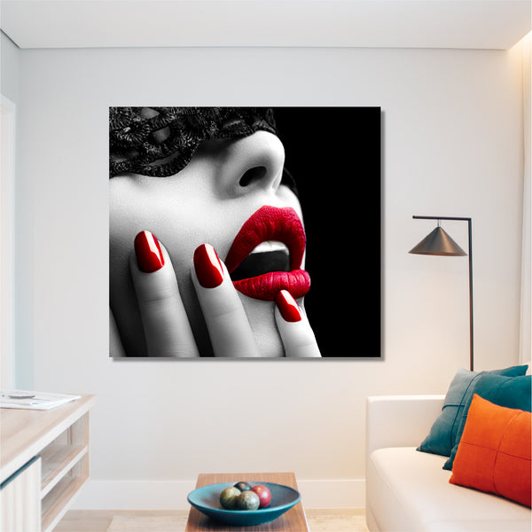 Tablou Girl with Red Lips - CANVASTYLES -  Tablouri Canvas Motivaționale