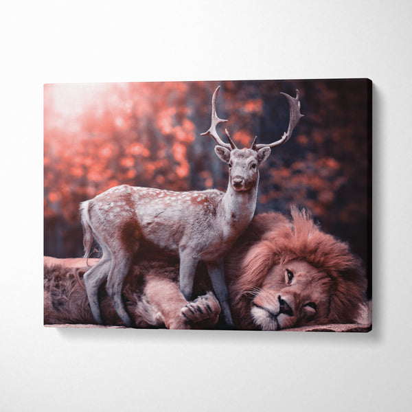Tablou Lion Loves Deer - CANVASTYLES -  Tablouri Canvas Motivaționale